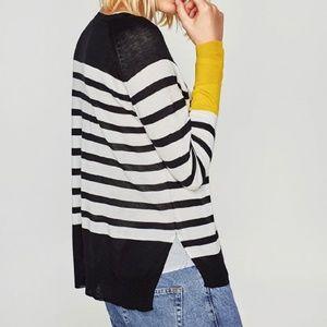 NEW Zara contrast stripe sweater
